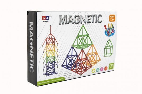 Teddies Magnetická stavebnice 120 ks plast/kov v krabici 28x19x5cm