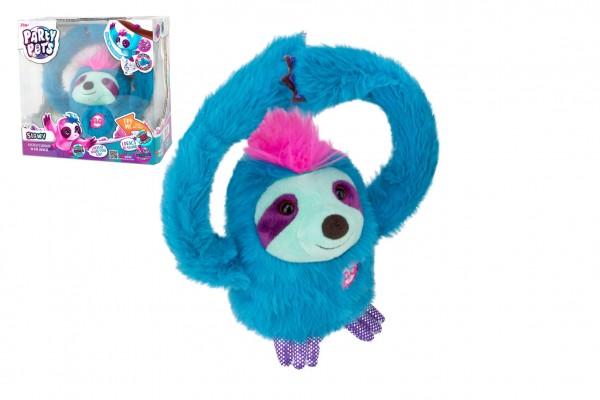 TM Toys Zvířátko Slowy - lenochod tyrkysový plyš na baterie se zvukem v krabičce 20x20x12cm 24m+