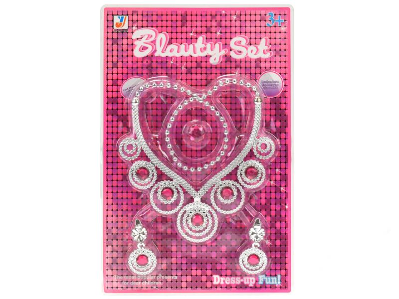 Mikro Trading Sada krásy náhrdelník ve tvaru srdce s náušnicemi a prstenem na kartě