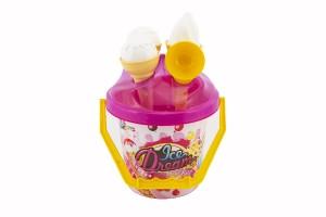 Teddies Sada na písek plast kbelík + formičky zmrzlina 2 barvy skladem Barva: Růžová