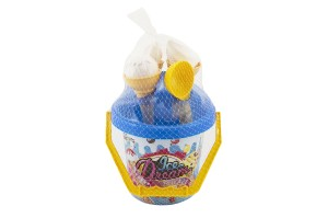 Teddies Sada na písek plast kbelík + formičky zmrzlina 2 barvy skladem Barva: Modrá