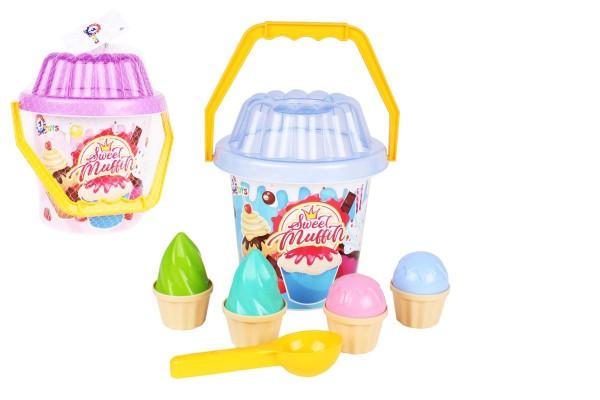Teddies Sada na písek plast kbelík, lopatka, bábovky skladem Barva: Modrá