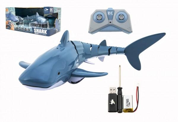 Teddies Žralok RC plast 35cm na dálkové ovládání +dobíjecí pack v krabici 38x17x20cm