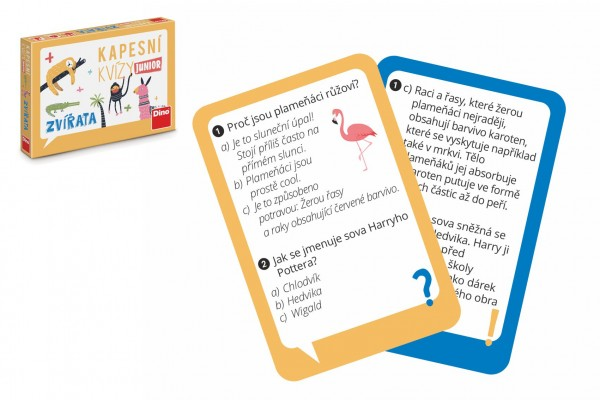Dino Kapesní kvízy junior - Zvířata cestovní společenská hra CZ verze v krabičce 14x10x2cm