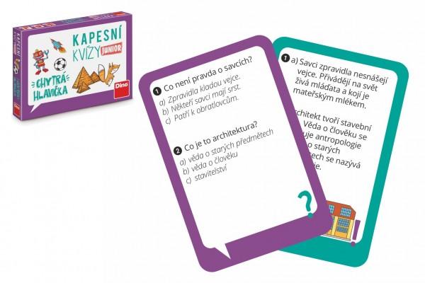 Dino Kapesní kvízy junior - Chytrá hlavička cestovní společenská hra CZ verze v krabičce 14x10x2cm