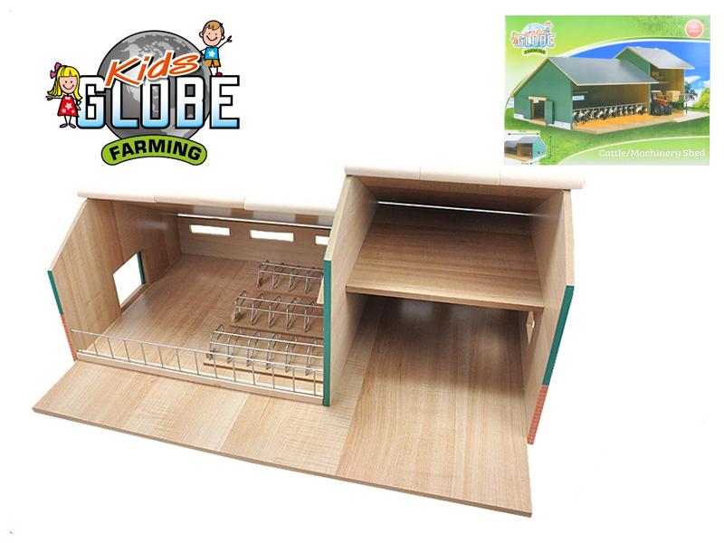 Mikro Trading Stáj s garáží pro traktory dřevěná 55x72x32cm 1:32