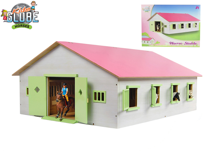 Mikro Trading Stáj pro koně dřevěná 72,5x38x60cm růžová 1:24