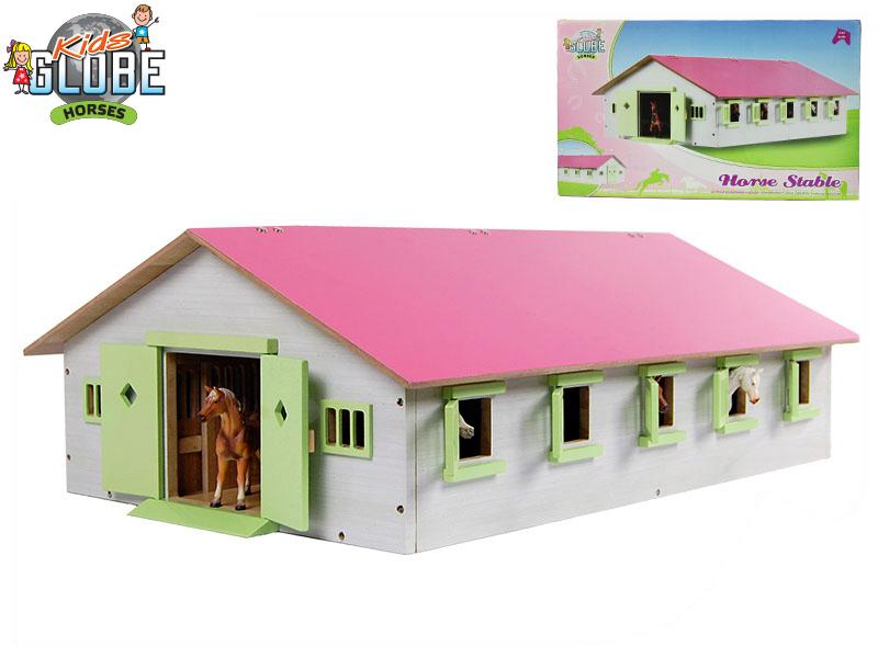 Mikro Trading Stáj pro koně dřevěná 62x43x22cm 1:32 růžová