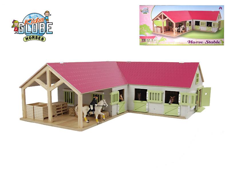 Mikro Trading Stáj pro koně dřevěná 68x77x27cm 1:24