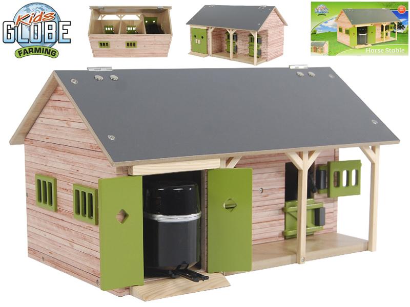 Mikro Trading Stáj pro koně dřevěná 34x21x19,5cm zelená 1:32