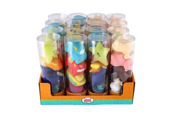 Levně Teddies Stříkací figurky zvířátka/dopravní prostředky do vany 4ks gumová 4 druhy v tubě 2+