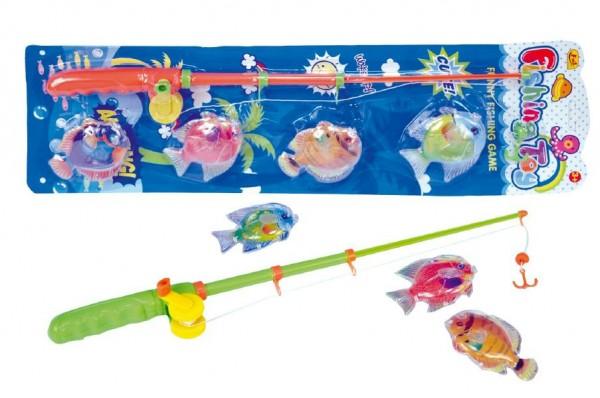 Teddies Hra ryby/rybář magnetické plast 4ks+prut plast 44cm asst 2 barvy na kartě