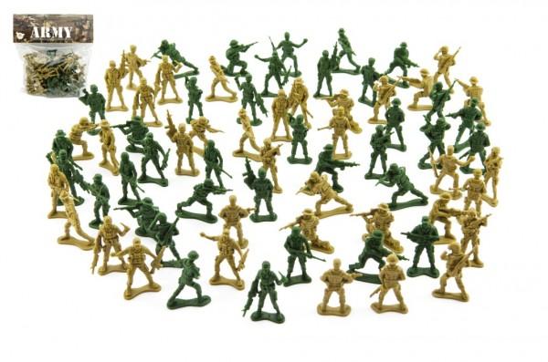 Teddies Sada vojáci 150g 2 barvy plast CZ design na kartě 18x19,5cm