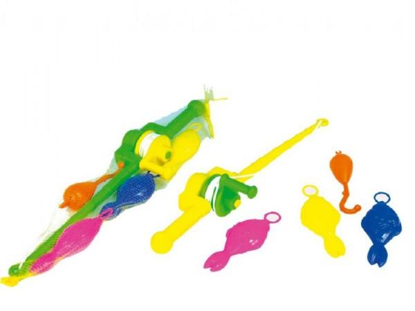 Teddies Hra ryby/rybář plast 3ks+prut 50cm asst 2 barvy v síťce
