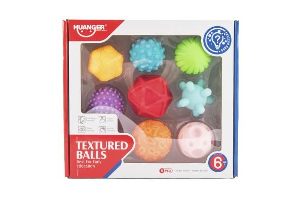 Teddies Sada míčků 8ks s texturou gumové 6-7cm v krabici 29x26x7cm 6m+