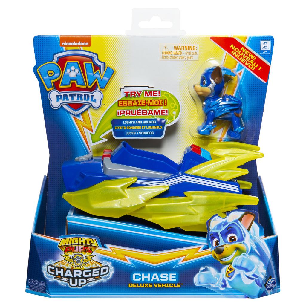 Spin Master Tlapková patrola Tlapková patrola Svítící vozidla hrdinů se zvuky DELUXE skladem Postava: Chase