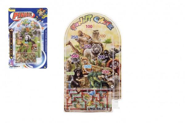 Teddies Pinball ZOO hlavolam plast 9x16cm 2 druhy na kartě