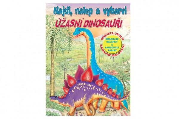 FONI Book Pracovní sešit Najdi, nalep a vybarvi Úžasní dinosauři CZ verze 21x28cm