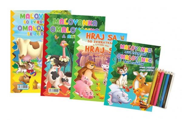 FONI Book Omalovánky+aktivity/Maľovanky+aktivity Zvířátka/zvieratká 4ks + pastelky CZ+SK verze v sáčku 21x29cm