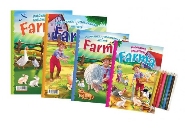 FONI Book Omalovánky+aktivity/Maľovanky+aktivity Na farmě/Na farme 4ks + pastelky CZ+SK verze v sáčku 21x29cm
