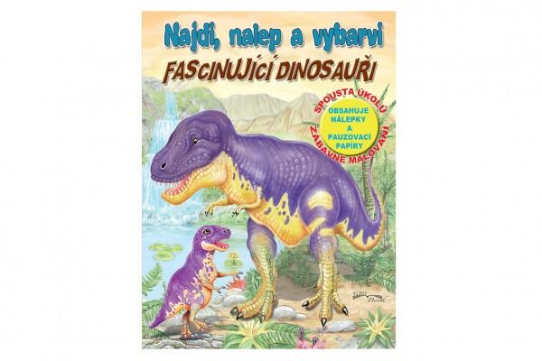 FONI Book Pracovní sešit Najdi, nalep a vybarvi Fascinující dinosauři CZ verze 21x28cm