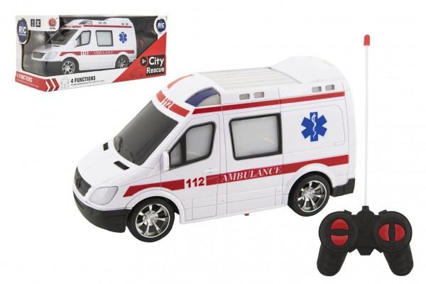 Teddies Auto RC ambulance plast 20cm na dálkové ovládání na baterie se světlem v krabici 28x13x11cm
