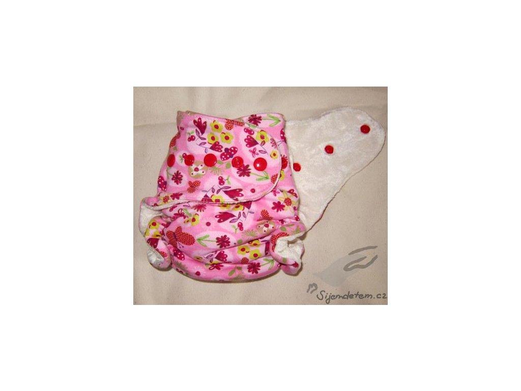 Šijem dětem Jednovelikostní kalhotková plena Megerka - Růžová louka