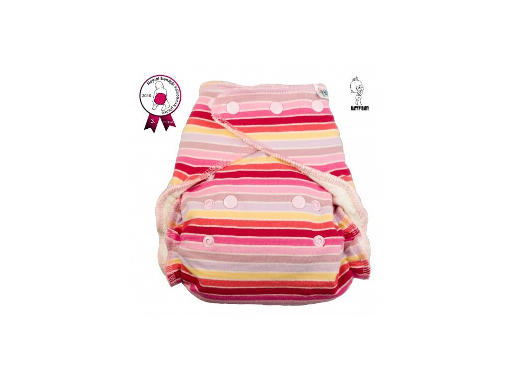 Katyv Baby Kalhotková plena - Pruhy červeno-růžovo-žluté (PAT)