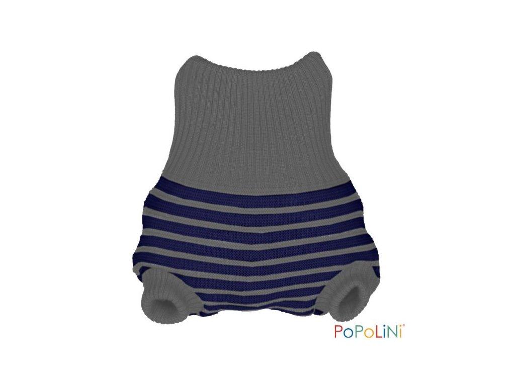 Popolini Vlněné svrchní kalhotky modro šedé proužky