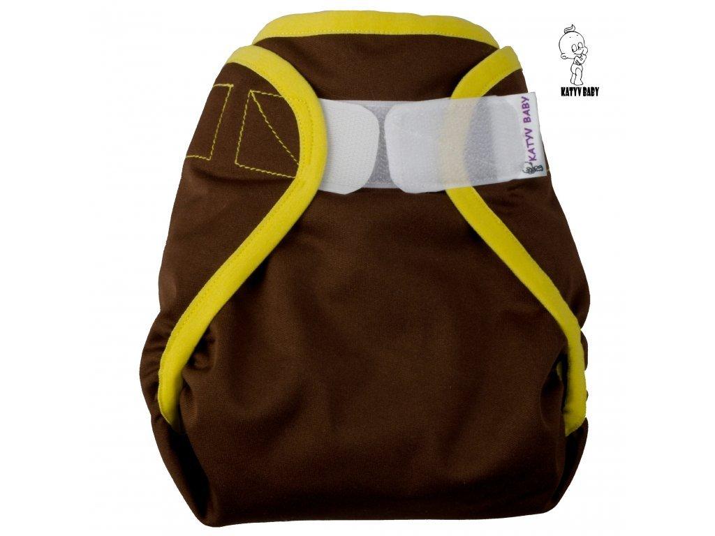 Katyv Baby Novorozenecké svrchní kalhotky - Hnědé se žlutou (SZ,PUL)