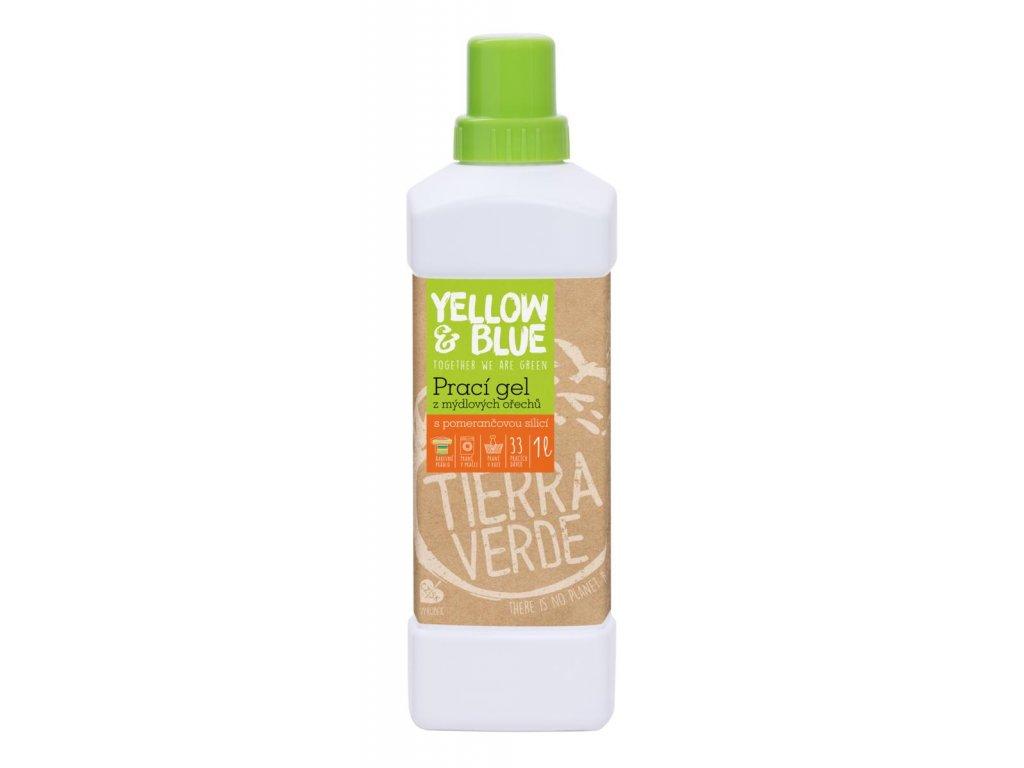 Tierra Verde PRACÍ GEL z mýdlových ořechů s POMERANČOVOU silicí 1l