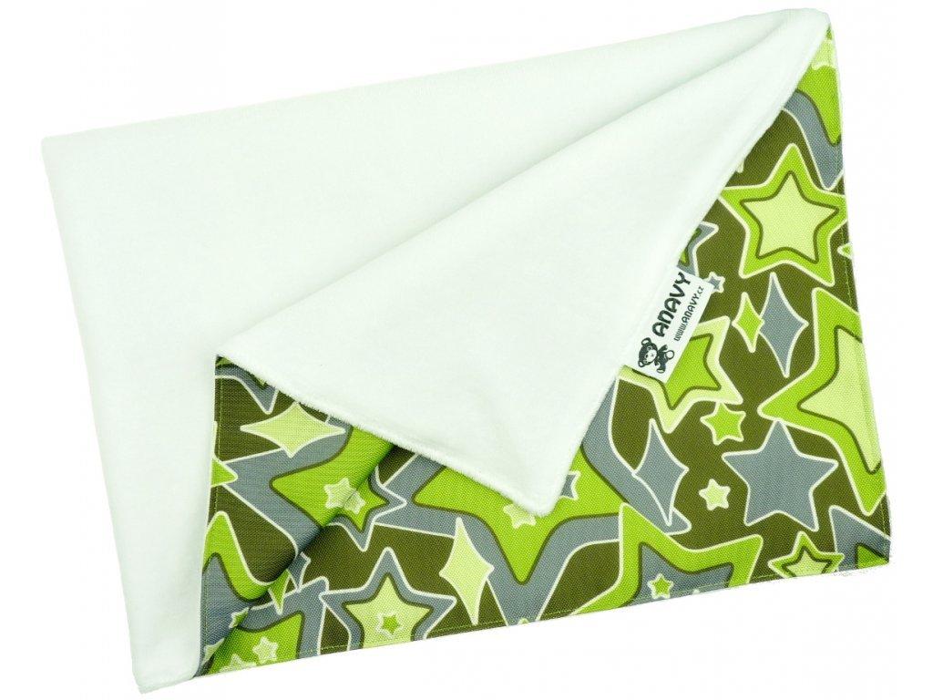 Anavy Přebalovací podložka Bílá/Hvězdy (zelená) (bavlněný velur)