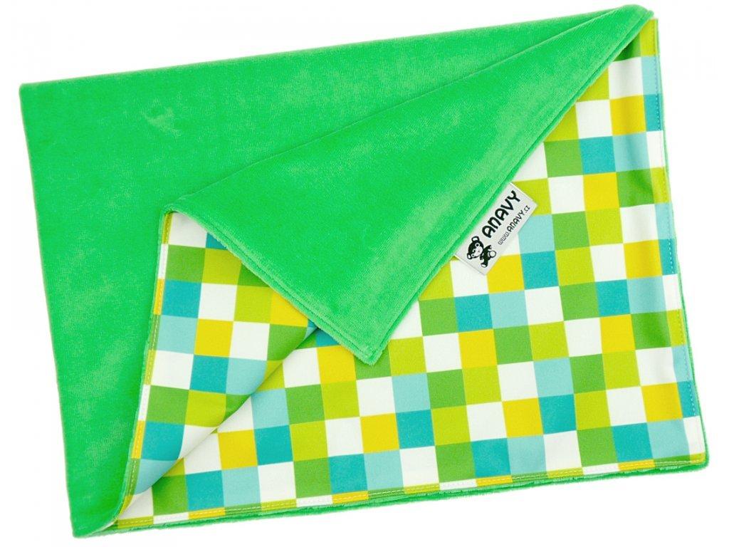 Anavy Přebalovací podložka Jehličí/Čtverečky (zelená) (bavlněný velur)