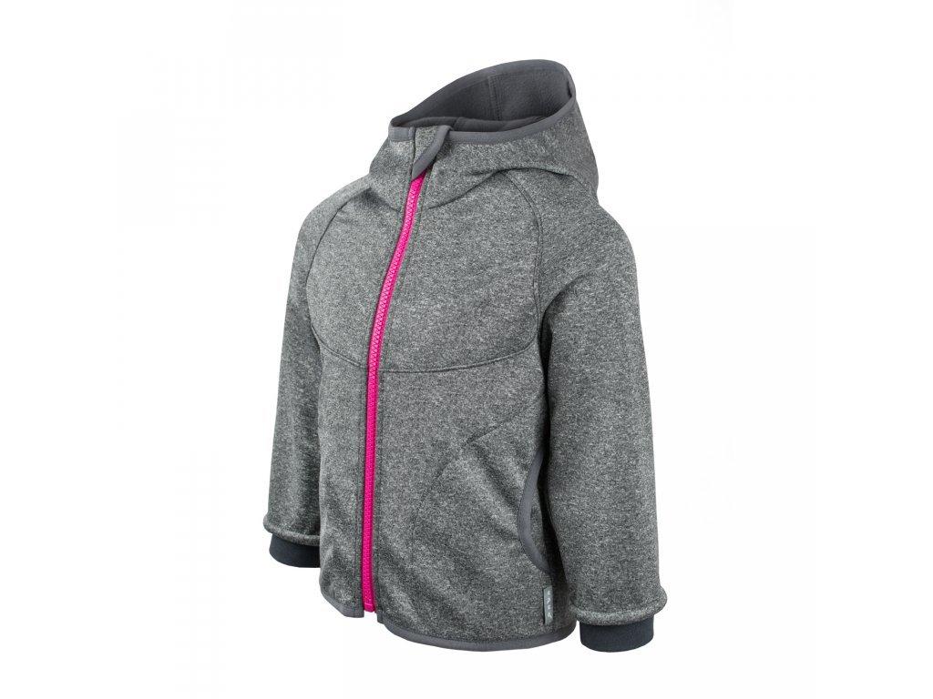 Unuo Softshellová bunda s fleecem Melír šedý, zip růžový