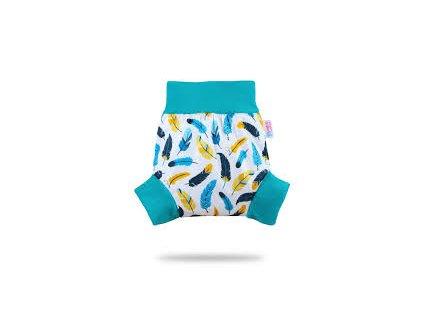 Petit Lulu Pull-up svrchní kalhotky Tyrkysová peříčka (PUL)