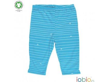 Popolini iobio kraťásky, 3/4 kalhoty biobavlna, bílé vlnky na modré