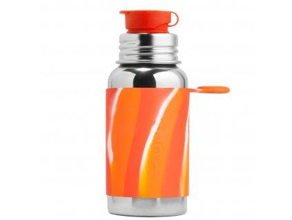 1 Pura nerezova flasa so sportovym uzaverom 550ml Oranzovo biela