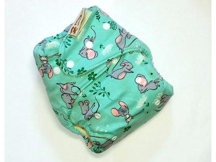 Anavy Svrchní kalhotky na pleny VLNĚNÉ Myšky mentol (PAT)