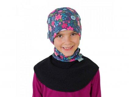 12224 5 unuo detsky nakrcnik z fleecu na suchy zip kvetinky cerna