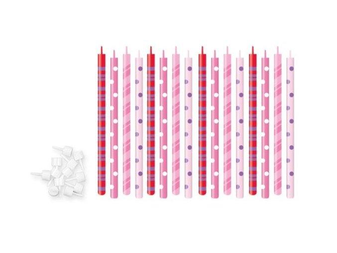 svíčky s puntíky růžové