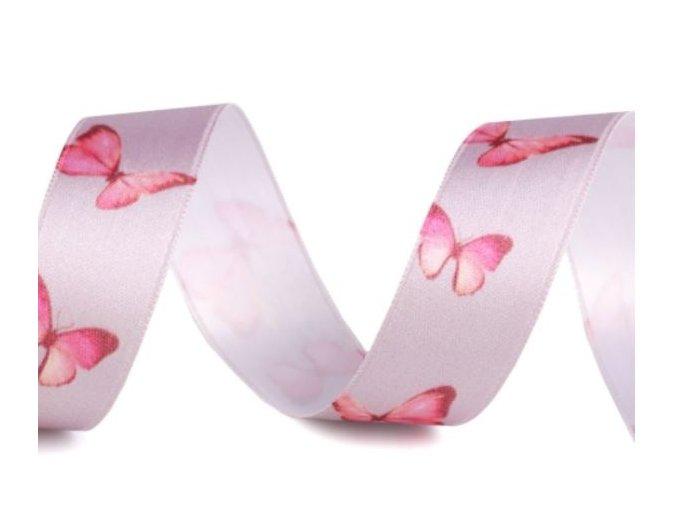 stuha s motýli růž