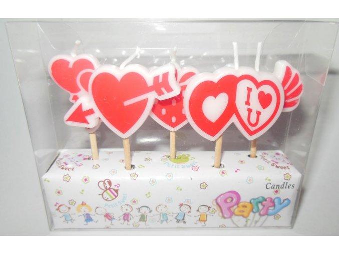 Party svíčky na špejli srdce