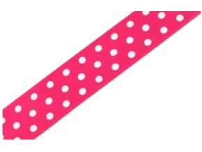 stuha tmavě růžová s puntíky
