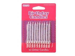 svíčky fialové s glitry