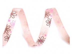 růžová stuha s květy