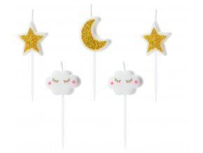 svíčky hvězdy, měsíc, obláčky
