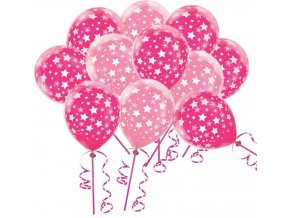 růžové balonky s hvězdami