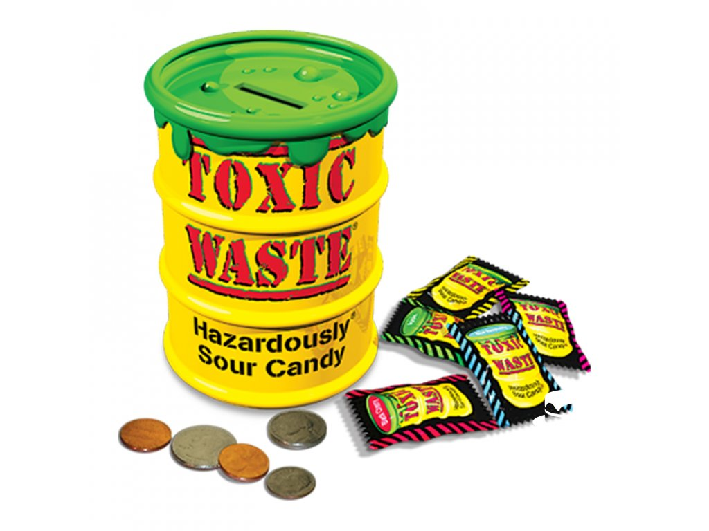 Toxic Waste Yellow Barrel - Giant Coin Bank
