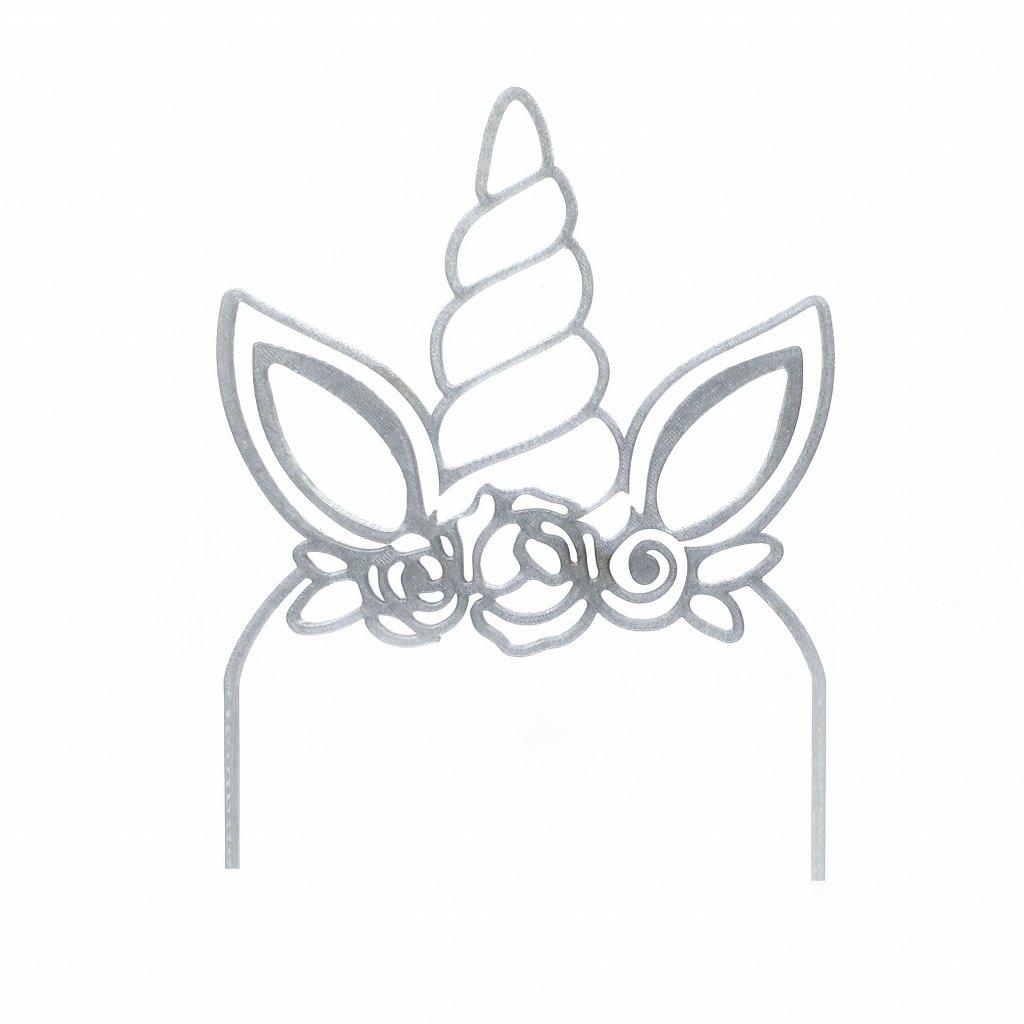 Plastový zápich od řemeslníka: UNICORN - roh jednorožce - STŘÍBRNÝ