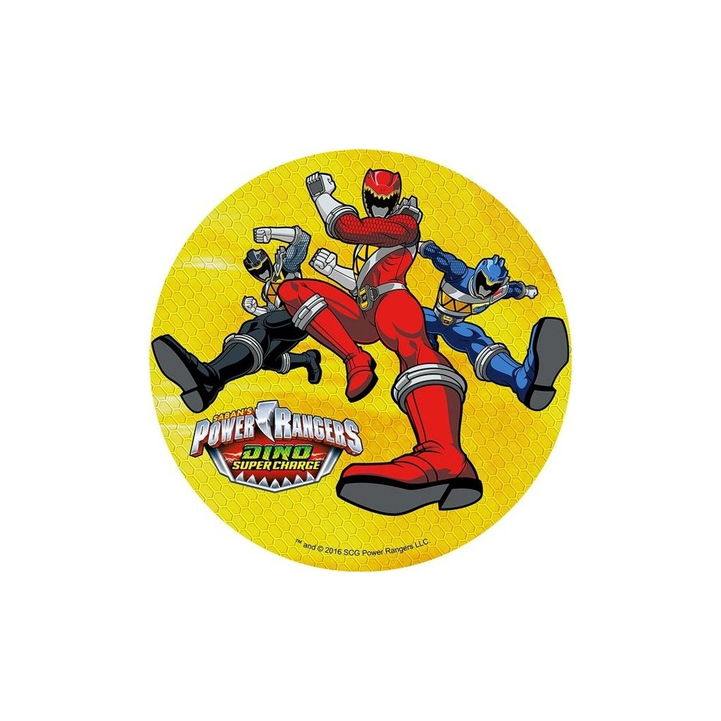 disque en pate a sucre power rangers rouge bleu et noir